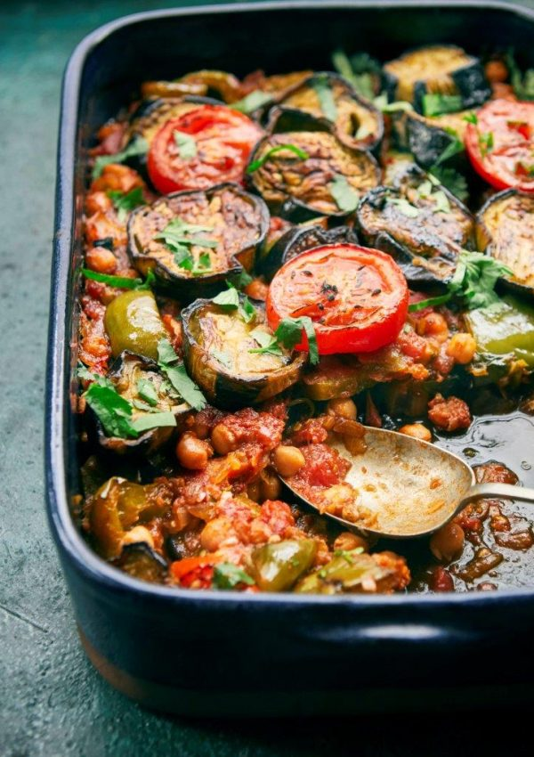 Recipe of the Month: Palestinian Aubergine, Chickpea and Tomato Bake (Musaqa'a)